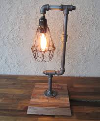 edison trouble light desk lamp vertical pipe reclaimed