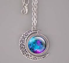 silver moon necklace pendants images Nebula necklace bronze silver moon charm jewelry nebula pendant JPG