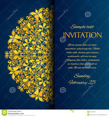 ornamental blue with gold embroidery invitation stock photo