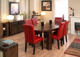 inspirational wooden oval dining table with red leather chairs