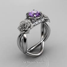 amethyst wedding rings nature inspired 14k white gold 1 0 ct amethyst diamond vine
