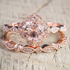 color wedding rings images 2 pcs set crystal ring jewelry rose gold color wedding rings for jpg