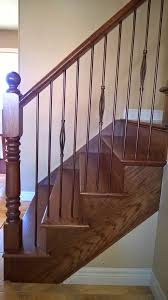 stairs capping refacing special walnut stain on red oak metal