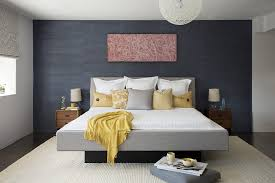 blue accent wall dark blue accent wall accent wall gray bedroom contemporary with