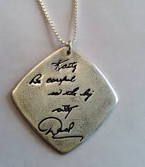memorial pendants memorial jewelry your actual loved ones writing silver pendant