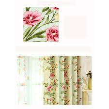Shabby Chic Com by Green Floral Print Polyester Beautiful Shabby Chic Curtains