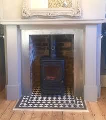 black u0026 white victorian tile fireplace hearth u2014 mosaics by post