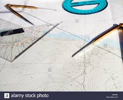 Compass Map Compass Map And Goniometer Route On A Maritime Chart Stock