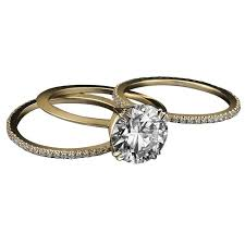 three ring wedding set alexandra mor 1 50 carat certified centre engagement