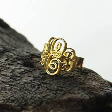 gold monogram ring monogrammed initials ring personalized vine monogram ring gold