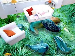 green seabed coral dophins turtle 00046 floor decals 3d wallpaper