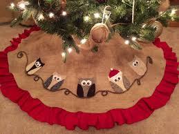 owl christmas tree skirt red ruffle burlap applique