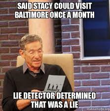 Stacy Meme - said stacy could visit baltimore once a month lie detector