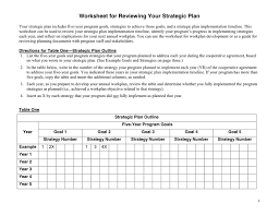 worksheet for strategic plan review in word and pdf formats