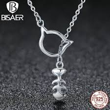 fashion jewelry silver necklace images Bisaer unique 925 sterling silver lovely cat with her delicious jpg