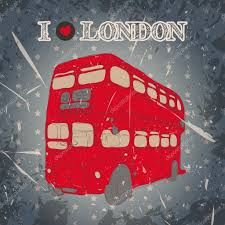 vintage label with english bus on the grunge background retro