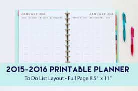 printable planner january 2015 items similar to 2015 2016 weekly planner with to do list layout