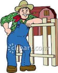 A Cartoon Barn Farmer Leaning On A Fence By His Barn Royalty Free Clipart Picture
