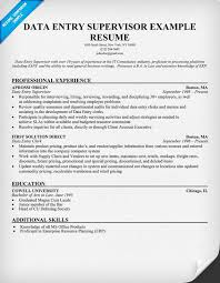 Supervisor Resume Examples by Data Entry Supervisor Resume Resumecompanion Com Resume