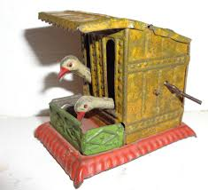 rare old feeding chickens in coop german painted tin penny toy