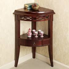 Traditional Accent Round Wood Accent Table Solid Composite Wood Frame With Glass Top