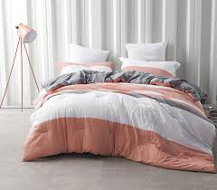 dorm bedding set college coral gray and white striped extra long