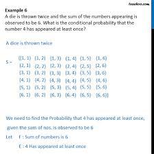 exle 6 a die is thrown sum of numbers is 6 exles