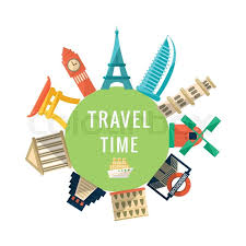 travel time logo with buildings world capitals symbolic
