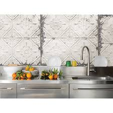 tin tiles for kitchen backsplash nuw2086 vintage tin tile peel and stick wallpaper by