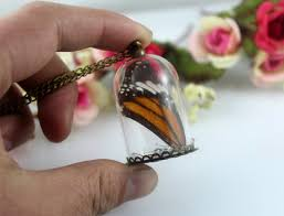 glass butterfly necklace images 25x38mm glass globe filled with real butterfly wing handmade JPG