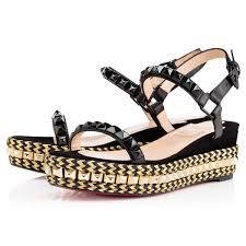 golden chain christian louboutin cataclou espadrille flat sandal