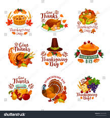 thanksgiving day icons seasonal autumn greeting stock vector