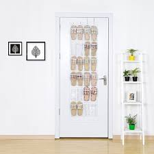 White Shoe Cabinet With Doors by Amazon Com Over The Door Shoe Organizer Maidmax 24 Clear Pockets