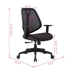 Adjustable Height Desk Chair by Homcom Office Swivel Chair Reclining Padded Seat Adjustable Height