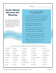 poetic words discover the meaning context clues worksheets for