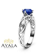 victorian natural blue sapphire engagement ring 14k white gold
