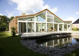 eco friendly house plans exterior luxurious wooden layers and embellished fishpond