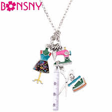 fashion necklace aliexpress images Bonsny statement chain enamel tailor sewing machine scissors ruler jpg