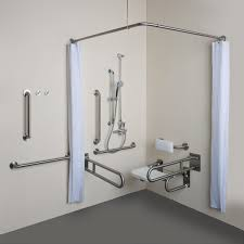 L Shaped Shower Rail Brushed Stainless Steel Grab Bar Chrome L Shaped Wall