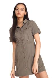womens distressed look denim button up short sleeve safari style