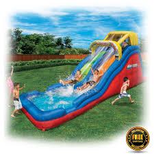 inflatable water slide double waterslide pool bouncer jumper kids