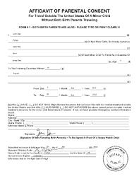affidavit of parental consent fill printable fillable