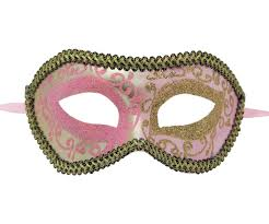 black venetian mask light pink and gold venetian mask with black and gold outline