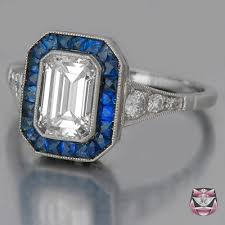 diamond sapphire art deco engagement ring deco weddings