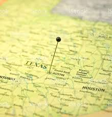 Map Of Austin Map Of Austin And Houston Texas Macro With Travel Pin Stock Photo