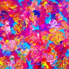floral fantasy bold abstract flowers acrylic textural painting