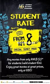 4 may 2015 onward gsc movie ticket student discount price rm8 50