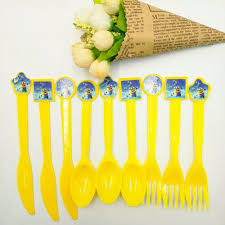 30pcs bag minions knives forks spoons cartoon theme party for kids