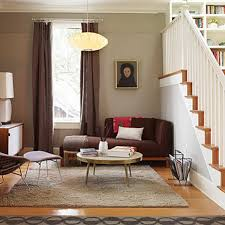 corner brown sofa sets and classic wood table in small living room