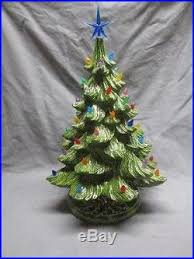 vtg 16 ceramic christmas tree light with music box holly leaf